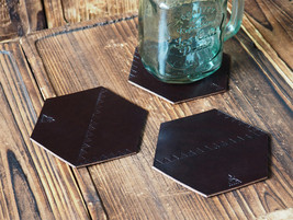 Set of 3 Leather Coasters–Wedding gifts, Cup Coaster, Coffee Coaster #Dark Brown - $32.99