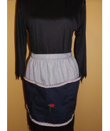 Half adult size apron, black and white with rose IN STOCK - $20.00