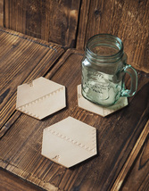 Set of 3 Leather Coasters–Wedding gifts, Cup Coaster, Coffee Coaster #Natural - $32.99