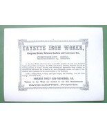 1853 AD Fyette Iron Works Cincinnati OH & BARTL... - $13.86