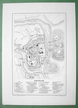 1870s ORIGINAL MAP - Middle East Jerusalem Israel - $13.86