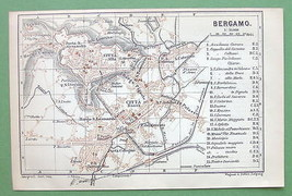 1899 MAP ORIGINAL Baedeker - Italy Bergamo City... - $6.93