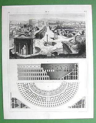 ARCHITECTURE Buildings on Forum Romanum Colosseum - 1844 Original Print