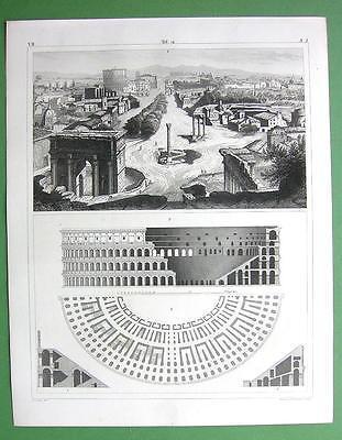 ARCHITECTURE Buildings on Forum Romanum Colosseum - 1844 Original Print