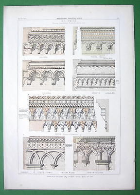 ARCHITECTURE COLOR PRINT : Italy Brickwork Palaces at Padua Verona Bologna