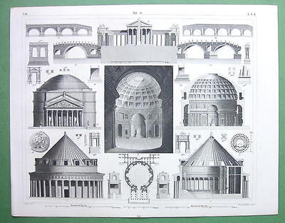 ARCHITECTURE Greek & ROman Temples Palmyra Pantheon - 1844 Original Print