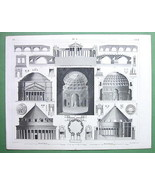 ARCHITECTURE Greek & ROman Temples Palmyra Pantheon - 1844 Original Print - $33.66