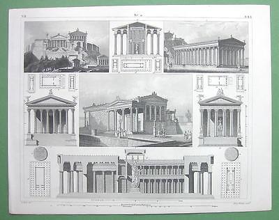 ARCHITECTURE Greek Temples Acropolis of Athens - 1844 Original Print