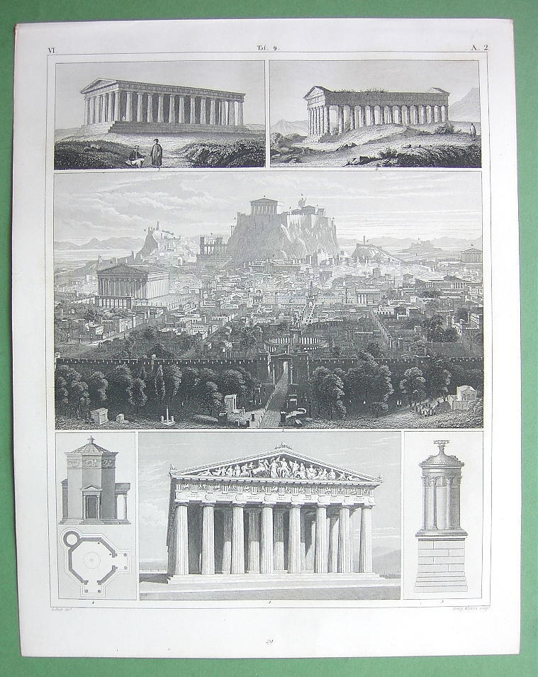 ARCHITECTURE Greece Temples Acropolis of Athens - 1844 Original Print