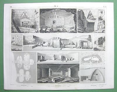 ARCHITECTURE Greek Tyrins Mycenae Gozo on Malta - 1844 Original Print