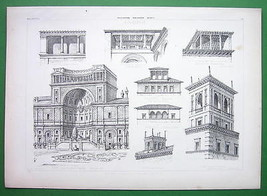 ARCHITECTURE PRINT : Italy Belvederes at Florence and Rome - $17.82