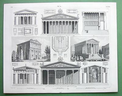 ARCHITECTURE Roman Temples Syracuse Paestum Olympia - 1844 Original Print