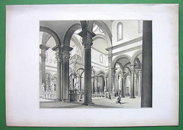 ARCHITECTURE SUPERB PRINT : Italy Florence Interior of San Spirito Church - $27.72