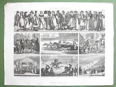 CUSTOMS Costume Russia Skating Bull Fight Sword Dance - 1870 Original Engraving