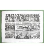 CUSTOMS Costume Russia Skating Bull Fight Sword Dance - 1870 Original En... - $13.86