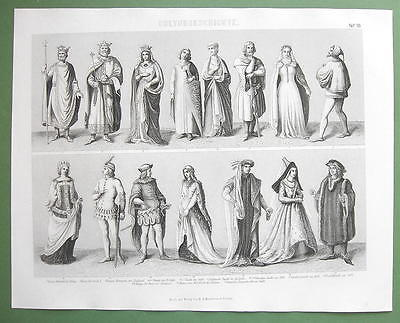 EUROPE Mediveal Costume Kings Queens Nobility - 1870 Original Engraving