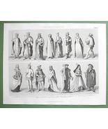 EUROPE Mediveal Costume Kings Queens Nobility - 1870 Original Engraving - $13.86