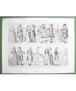 EUROPE Costume 17-18th C Louis IV Holland - 1870 Original Engraving Print - $13.86