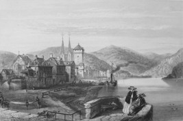 GERMANY Boppart on Rhine River - 1860 Antique Print Engraving - $13.86