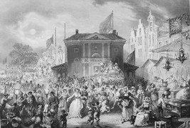 HOLLAND Kermis Religious Festival in Amsterdam - 1860 Antique Print - $21.78