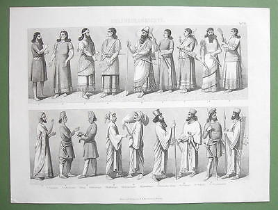 PERSIA & Assyria Natives People Costume Fashion - 1870 Original Engraving