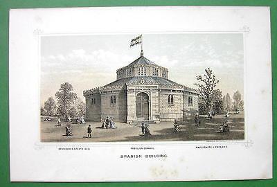 PHILADELPHIA Exhibition Spain Spanish Building - 1876 Original Lithograph Print