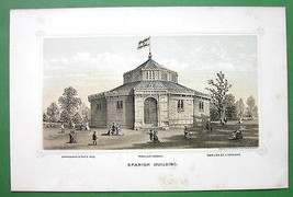 PHILADELPHIA Exhibition Spain Spanish Building - 1876 Original Lithograp... - $13.86