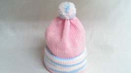 Handmade Knitted Hat Age 6 month - Pink Varigat... - $5.99