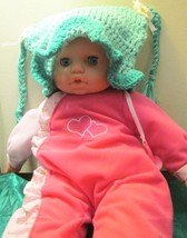Handmade Crocheted Pigtail Hat Age 1-2- Light Green And Teal - $5.99