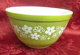 Vintage Pyrex Avocado Green Mixing Bowl With White Flowers - $9.99