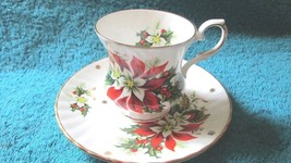 Royalty China Noel Demitasse Cup and Saucer - Poinsettia with Holly Berries - $14.99