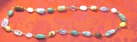 Vintage Wire Wrapped Semi-Precious Stones Necklace Large Beads - $45.00