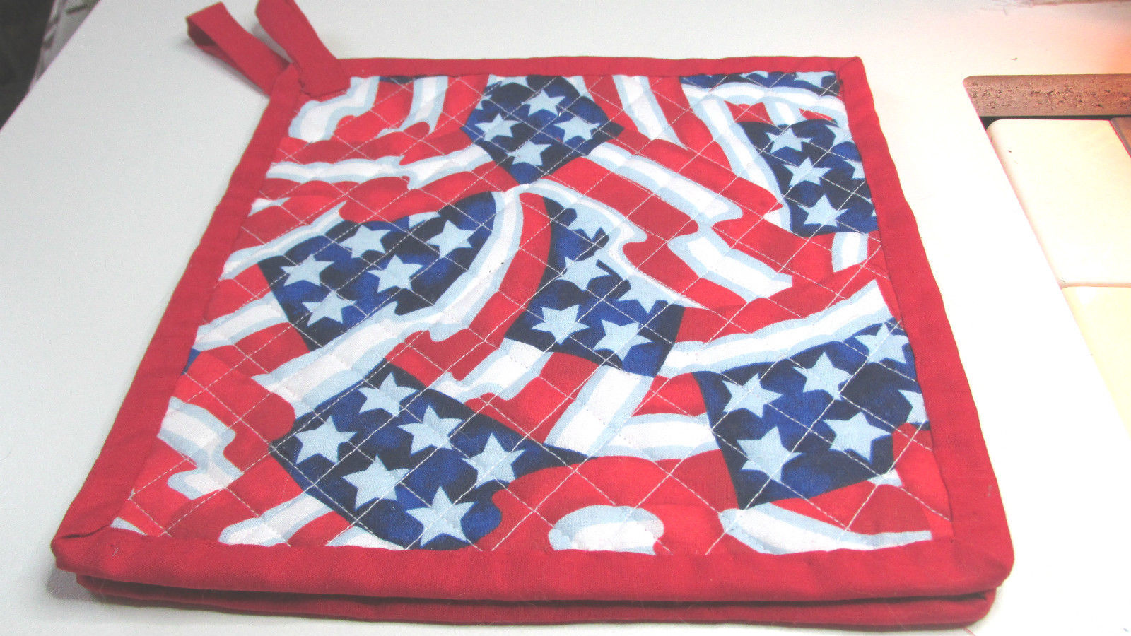 Quilted Potholders Handmade Lined with Insulbrite Flag Swirl