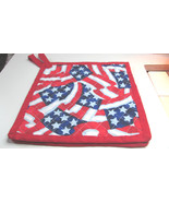 Quilted Potholders Handmade Lined with Insulbrite Flag Swirl - $6.99