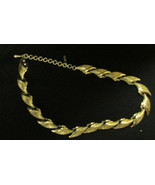 Monet Vintage Art Deco Modern Gold Plated Choker Necklace - $9.99