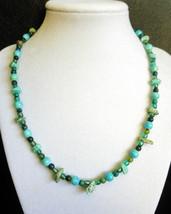 "18"" genuine jasper, howlite, and green artglass bead necklace - $50.00"