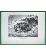 HORSES in Snowstorm by A. Schreyer !! VICTORIAN Antique Print Engraving - $17.82