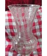 New Martinsville Etched Elegant Glass Vase Flowers Vintage - $24.99