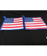 Quilted Potholders Handmade Lined with Insulbrite - USA Flag - $6.99
