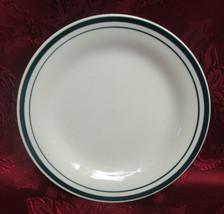 "Gibson Everyday 7"" Dessert/Bread Plate Double Green Bands Housewares - $2.99"