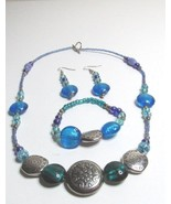 Three Piece Blue And Green  Beaded Necklace, Earring, Bracelet Set - $12.99