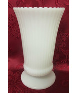 "Vintage E. O. Brody-USA- 7 1/2"" Ribbed Milk Glass Footed Vase #M5000 - $8.99"