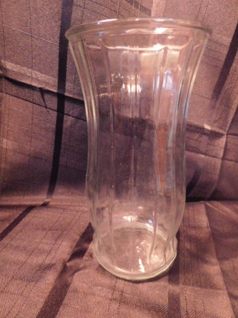 Vintage Ribbed Clear Glass Vase E. O. Brody Co. Cleveland Oh USA 1950s - $8.99