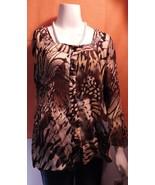 Sere Nade New York  L Shirt Multi Brown Leopard Print Long Sleeves Polye... - $8.99