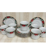 (7) Tienshan Fine China Set Christmas Deck The Halls Poinsettia Cups & S... - $24.99