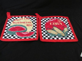 Quilted Potholders Handmade Lined with Insulbrite - Watermelon and Corn - $6.99