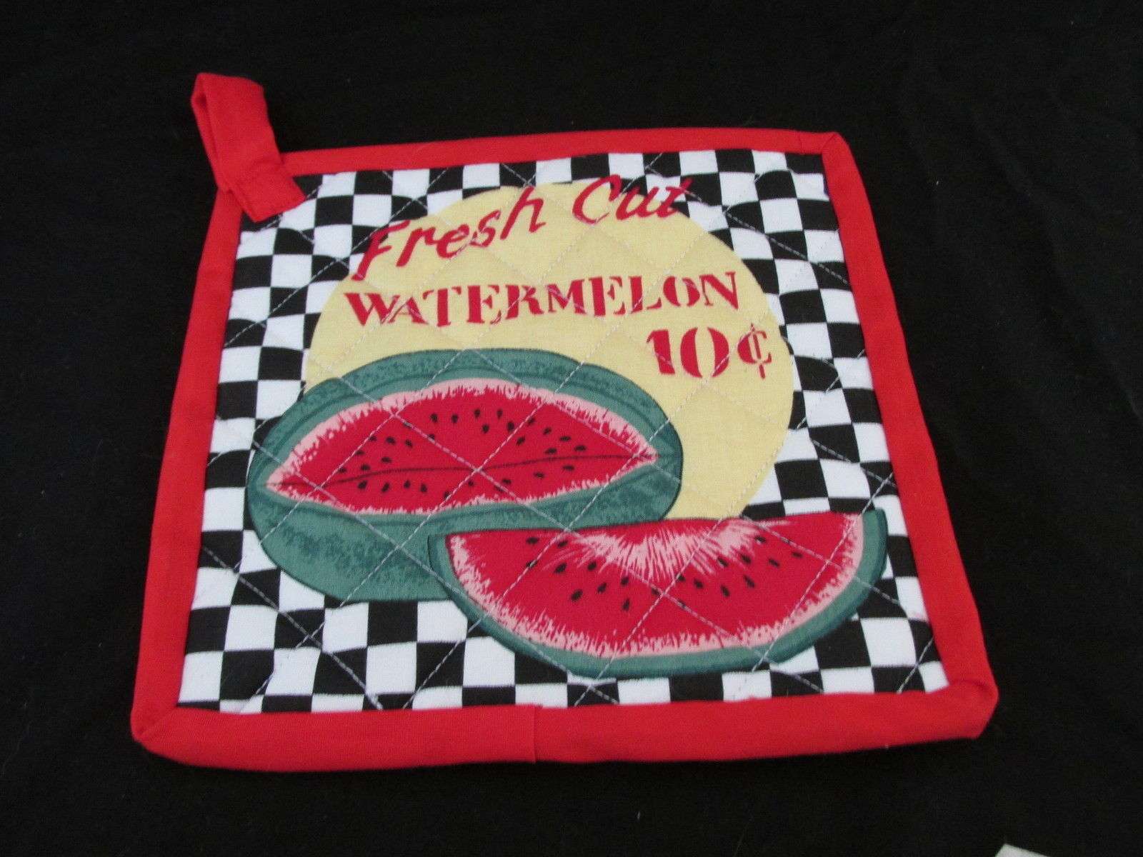Quilted Potholders Handmade Lined with Insulbrite - Watermelon and Corn