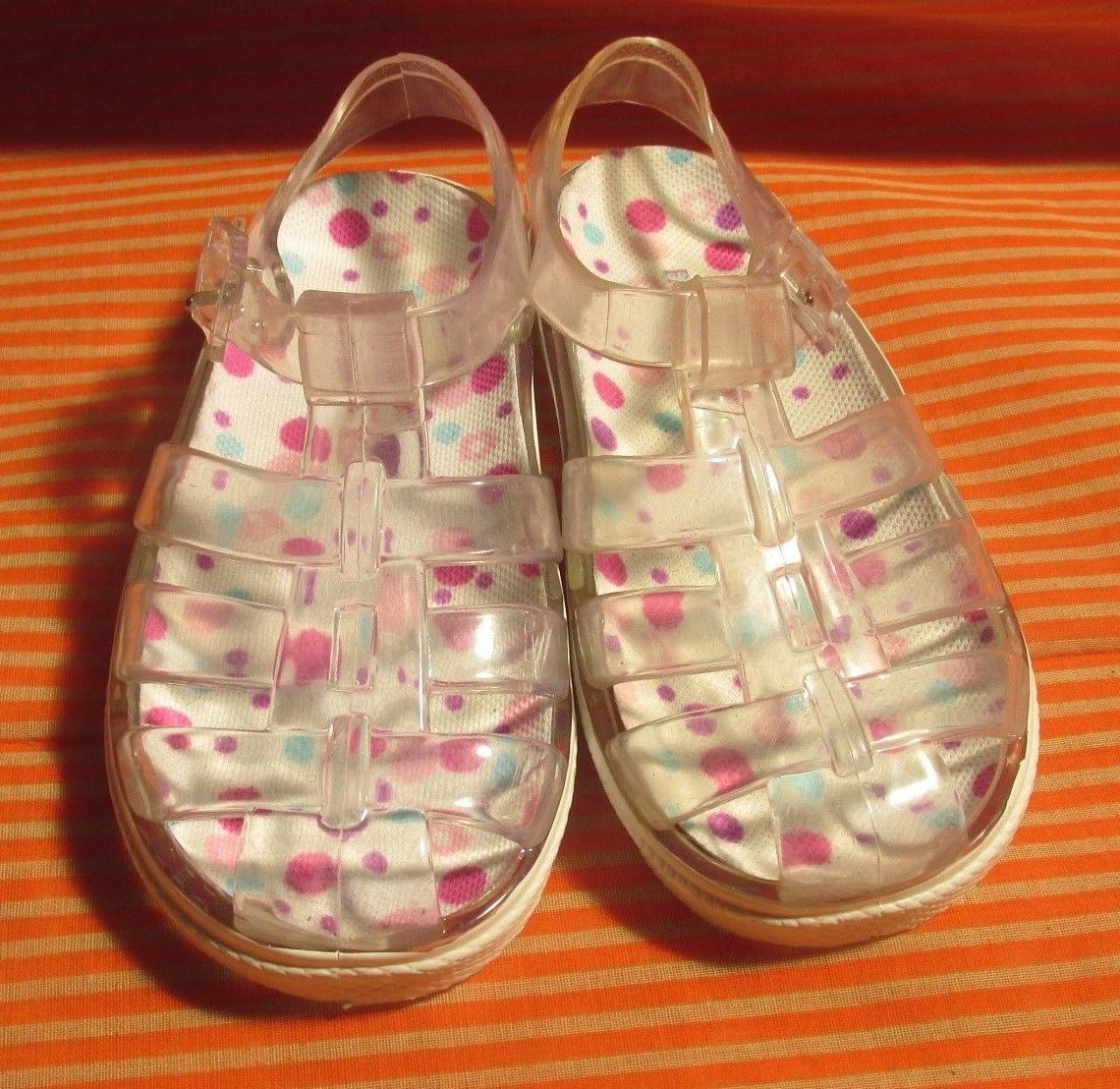 Faded Glory Size 7 Clear Sandals Girl