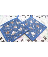 Quilted Potholders Handmade Lined with Insulbrite - Chickens- Bright Blu... - $6.99
