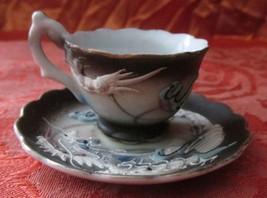 Japanese DRAGONWARE Mini Cup & Saucer w/Flaming Pearl (Moruku China) Mor... - $14.99